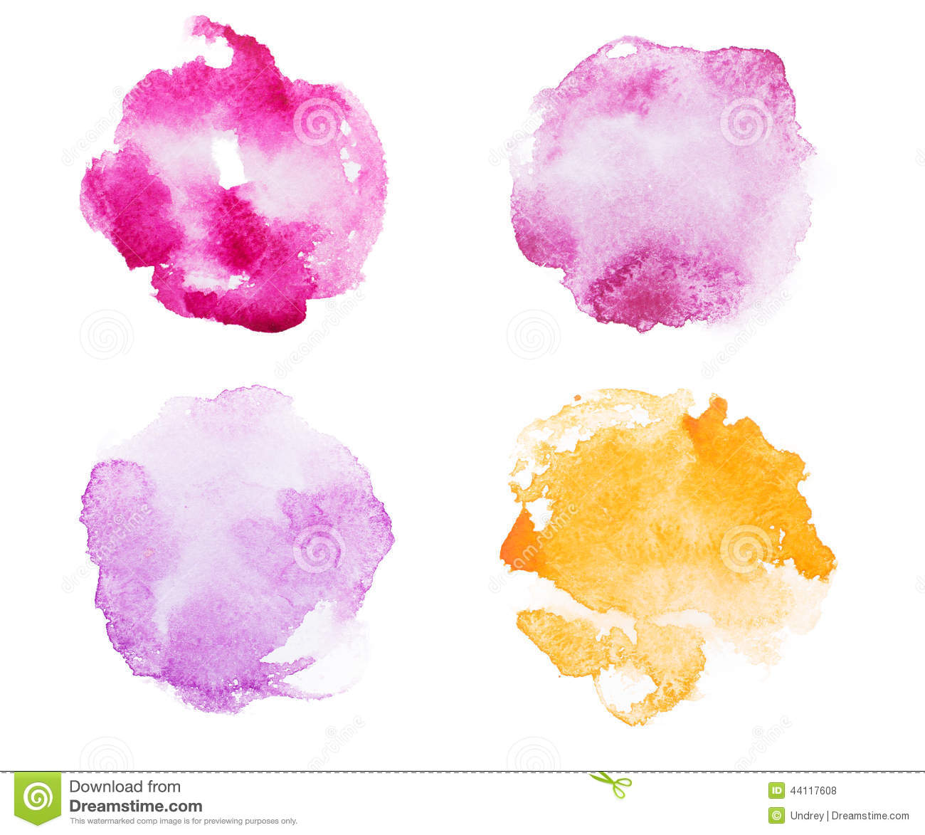 Abstract watercolor aquarelle hand drawn red pink