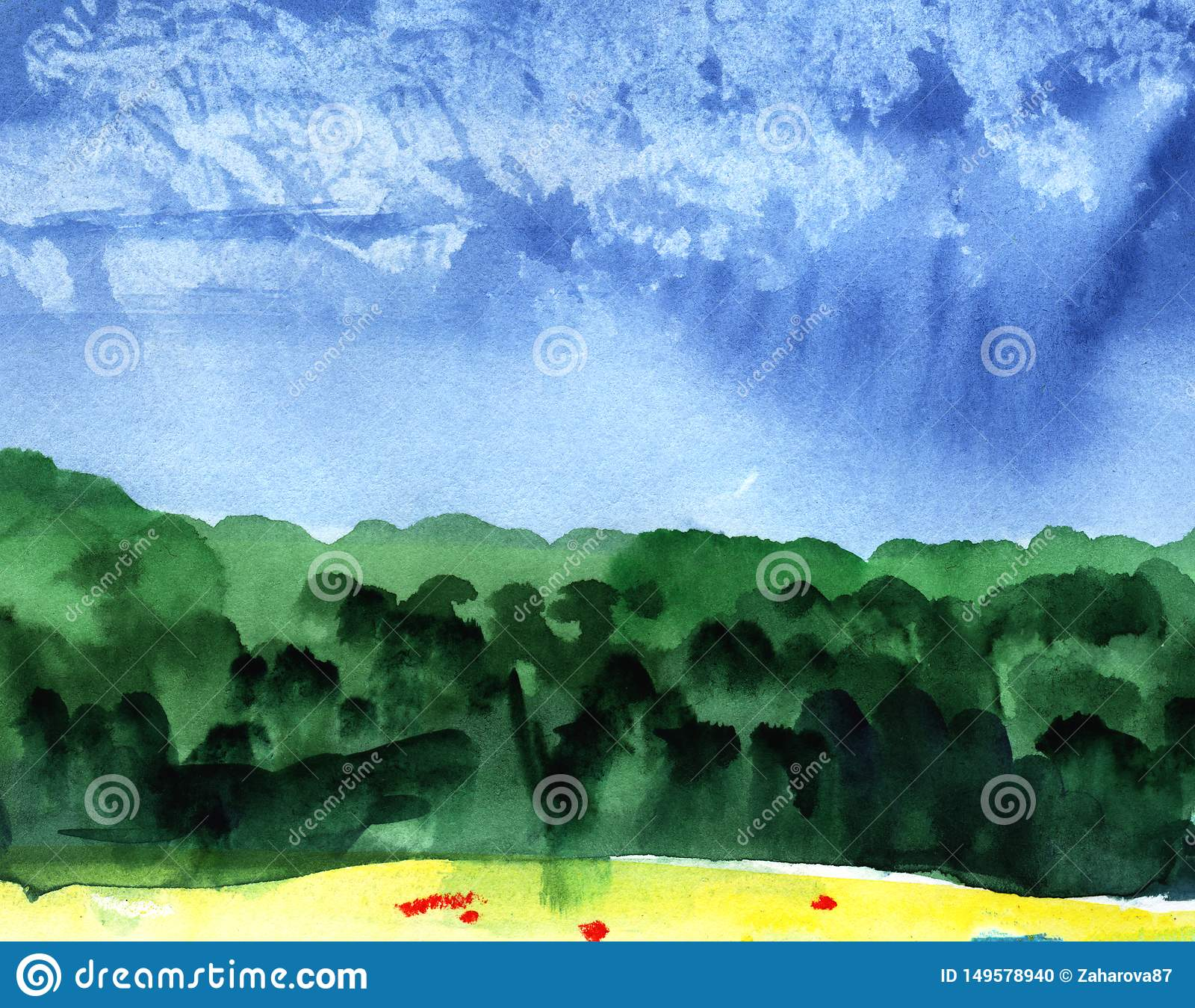 Abstract watercolor background. Blue sky on a sunny day with cumulus clouds. Silhouette of a green forest.