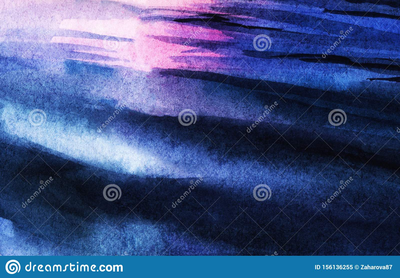 Abstract watercolor background. Blue water ripples of light and dark shades reflecting glare of pink sunset sky. Blurred
