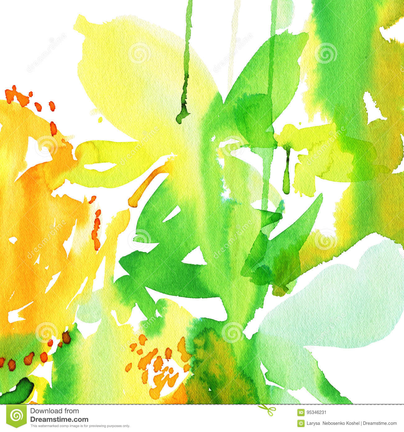 Abstract Watercolor Background To Create A Greeting Card Stock