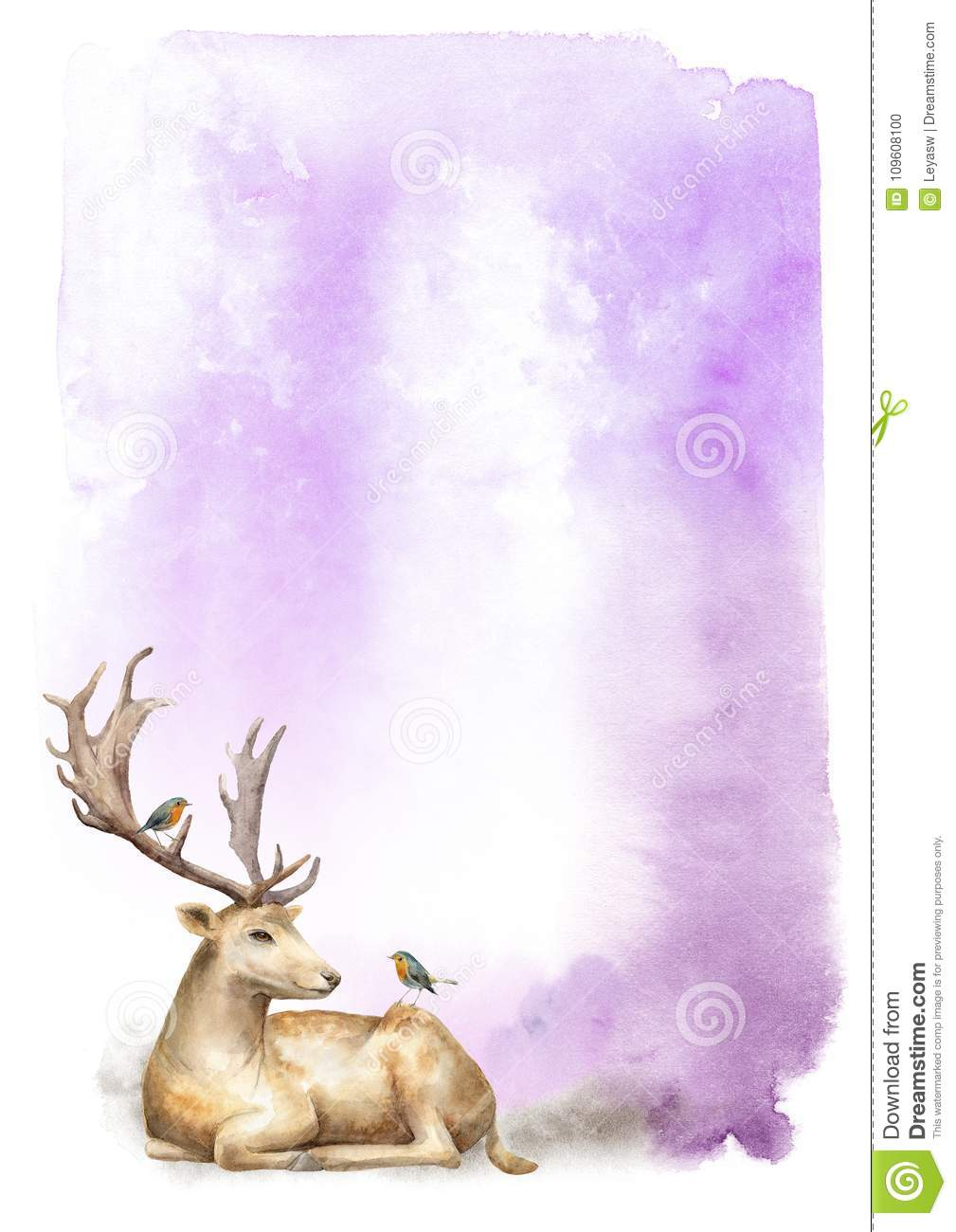 Abstract watercolor composition. A violet background with a forest deer male and birds Robin. Template for design.
