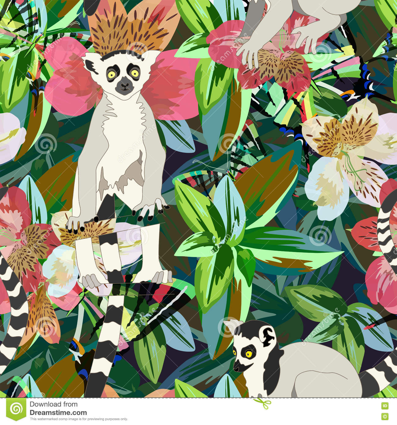 Abstract watercolor draw two lemur striped white black, background tropical forest