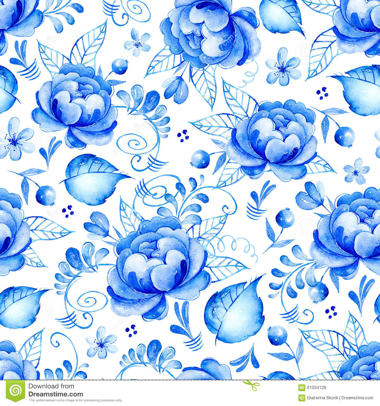Blue and white seamless floral background royalty free stock abstract watercolor floral seamless pattern with folk art flowers white ornament background with dhlflorist Image collections