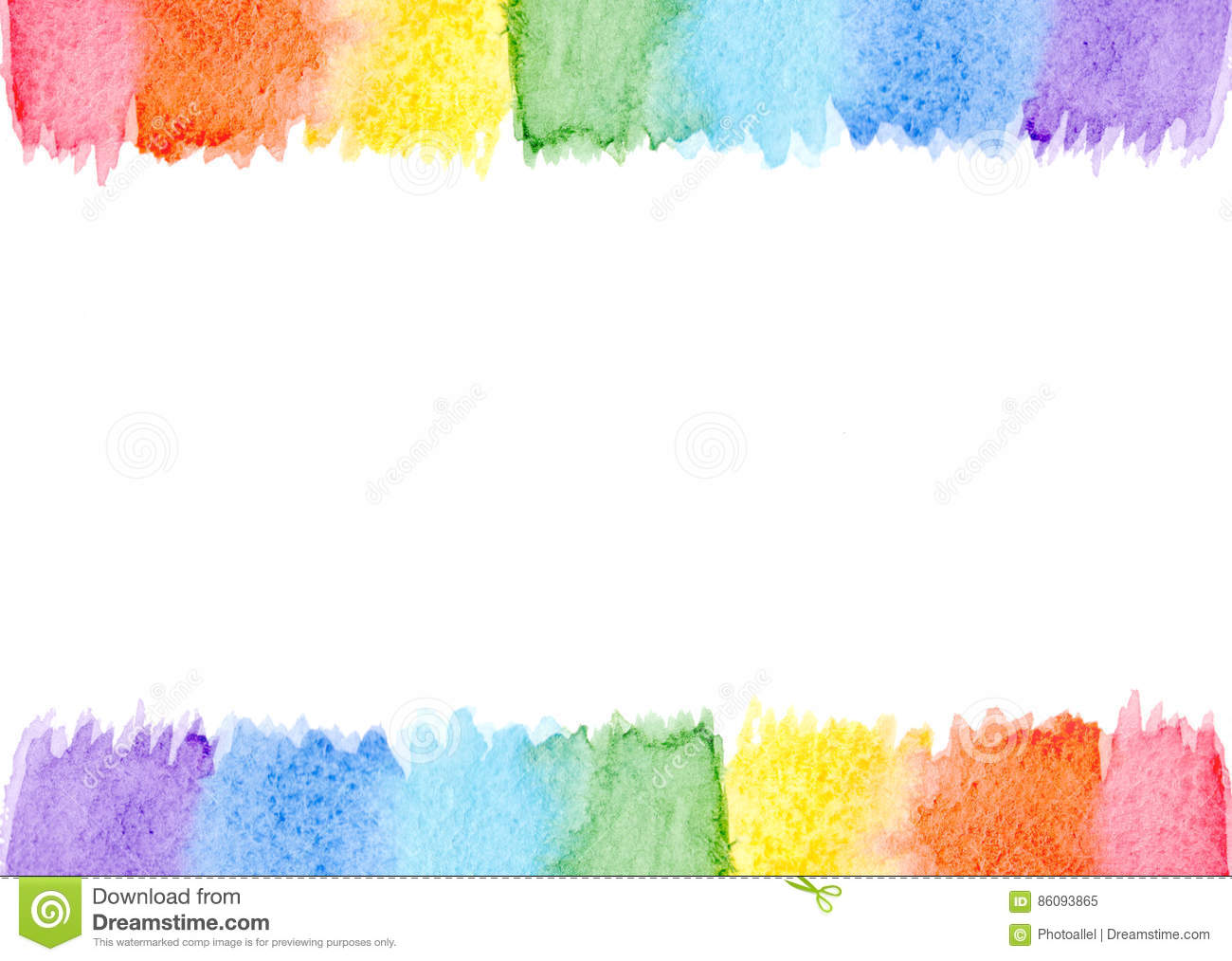 Coral Pattern Abstract Watercolor Frame Rainbow Seven Pastel Colors