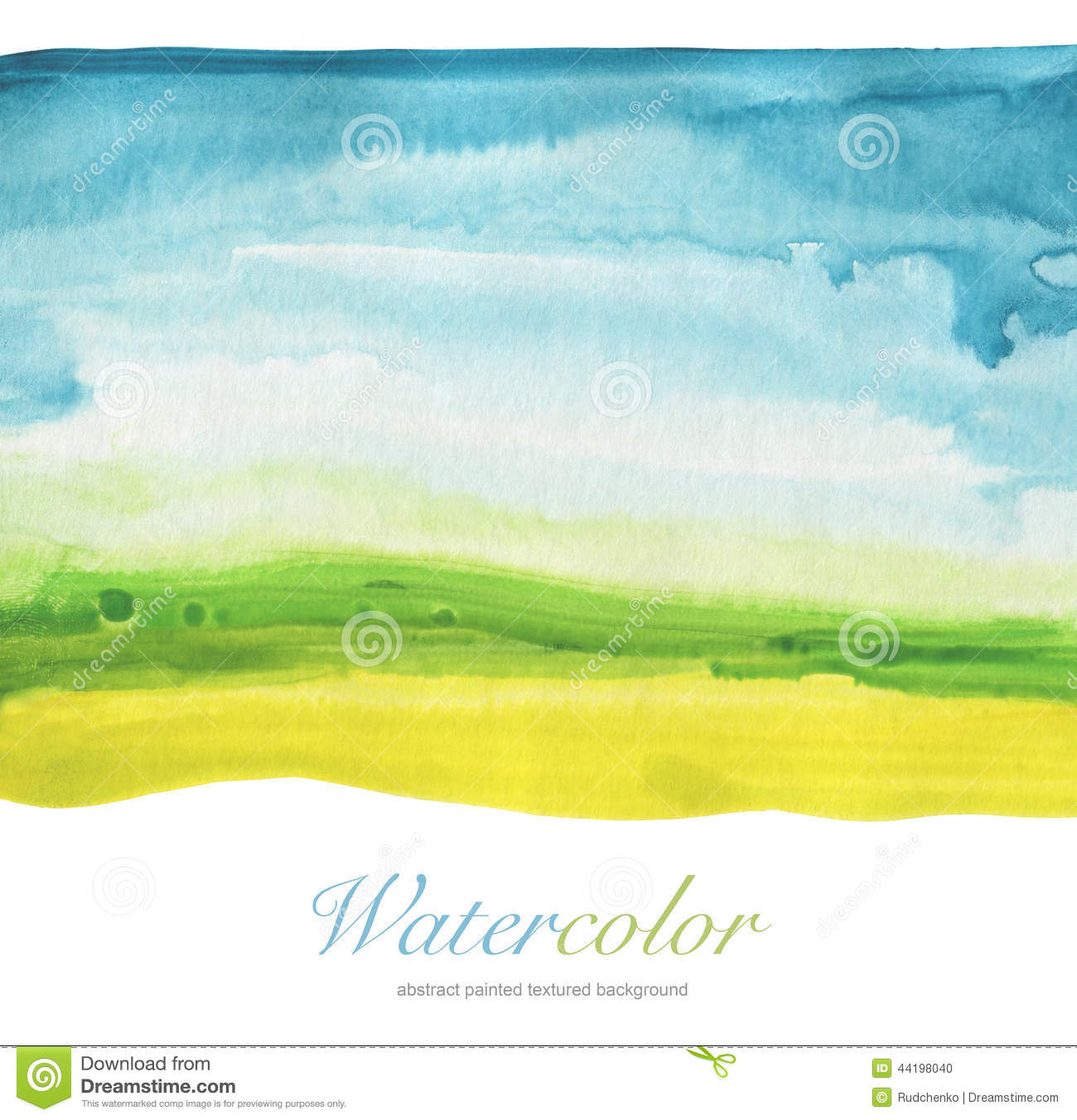 Abstract watercolor hand painted landscape background.