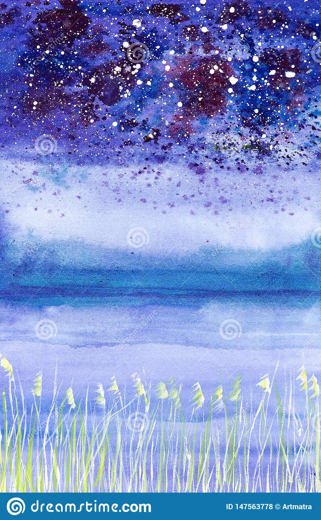 Abstract watercolor illustration of a night landscape with falling snow on the field and bushes