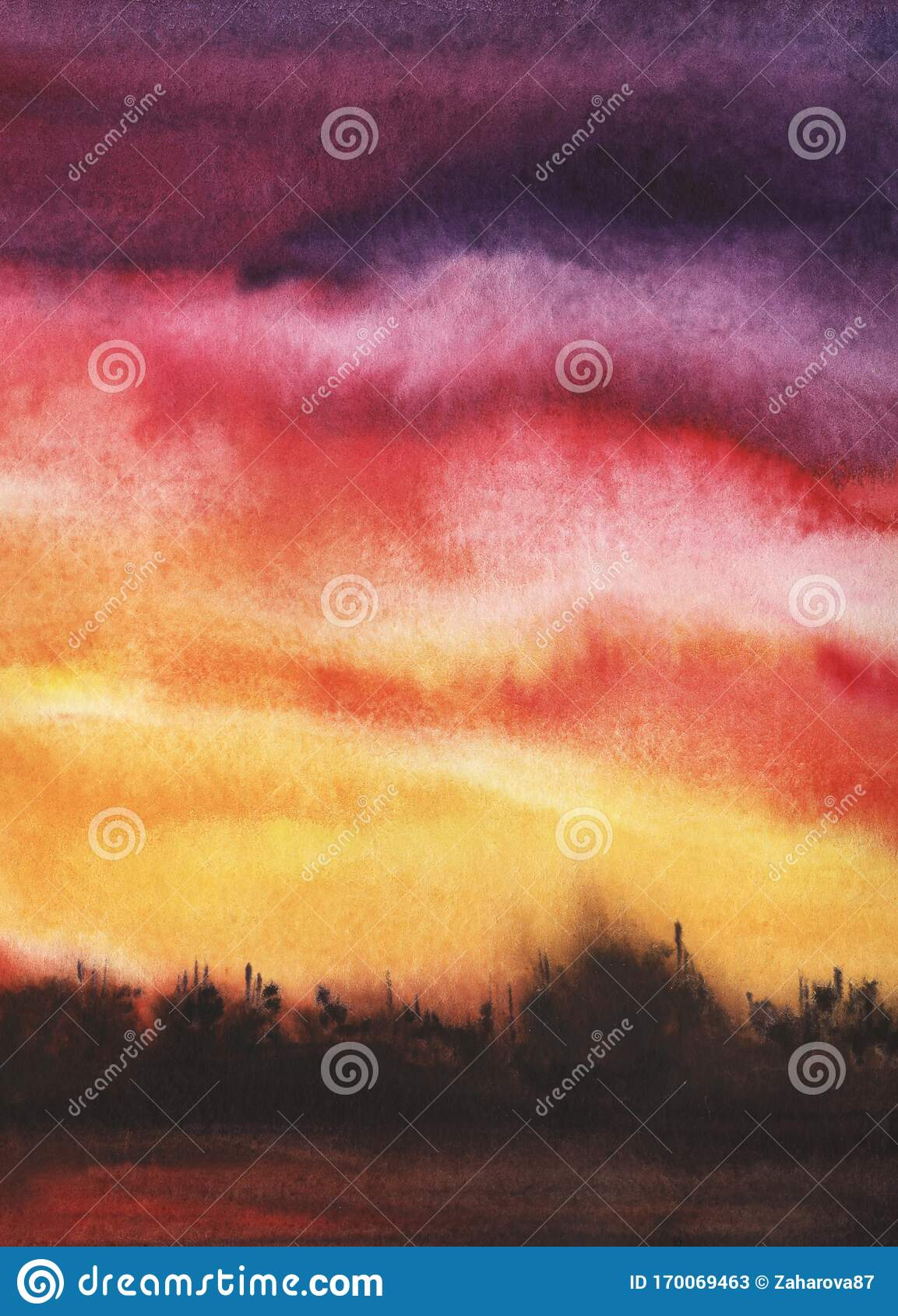 Abstract Watercolor Landscape Liquid Ink On Texture Paper Rainbow Gradient From Yellow To Red To Purple Sunset Sky Clouds Dark Stock Illustration Illustration Of Pink Color 170069463