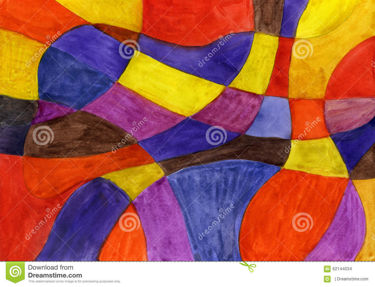 abstract watercolor lines and shapes painting stock