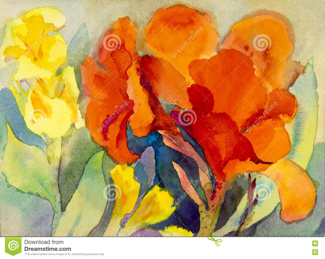 42f1d21b07695 Abstract Watercolor Original Painting Colorful Of Canna Lily Flowers ...