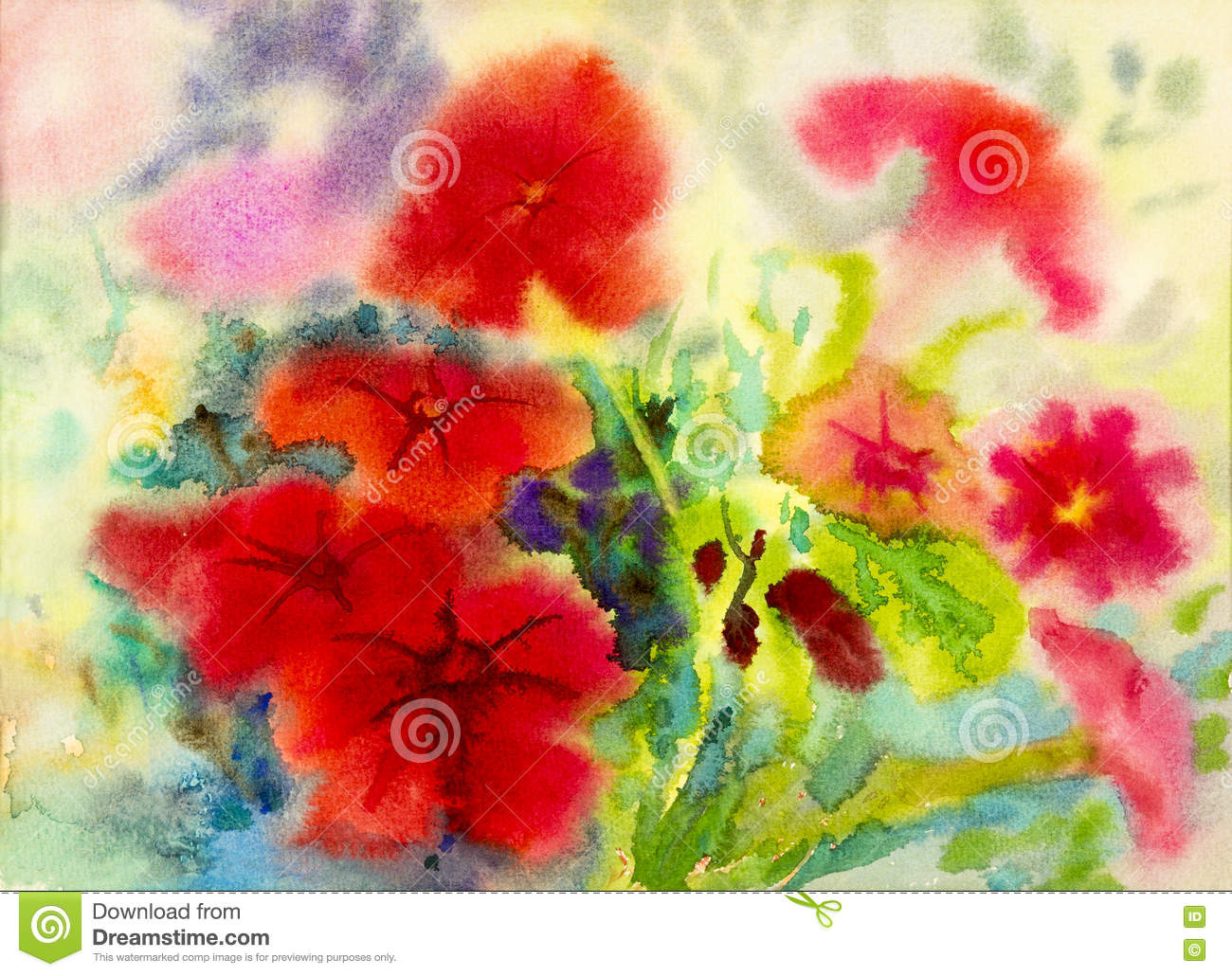 Abstract Watercolor Original Painting Red Color Of Petunia Flowers ...