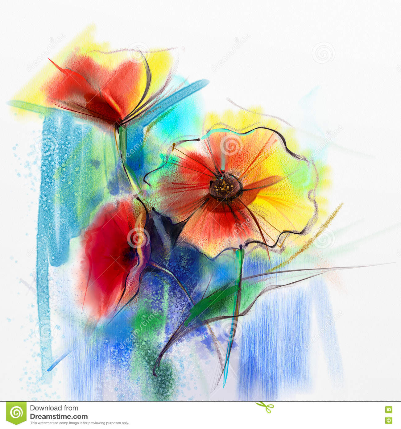 Abstract Watercolor Painting Of Spring Flower Stock ...