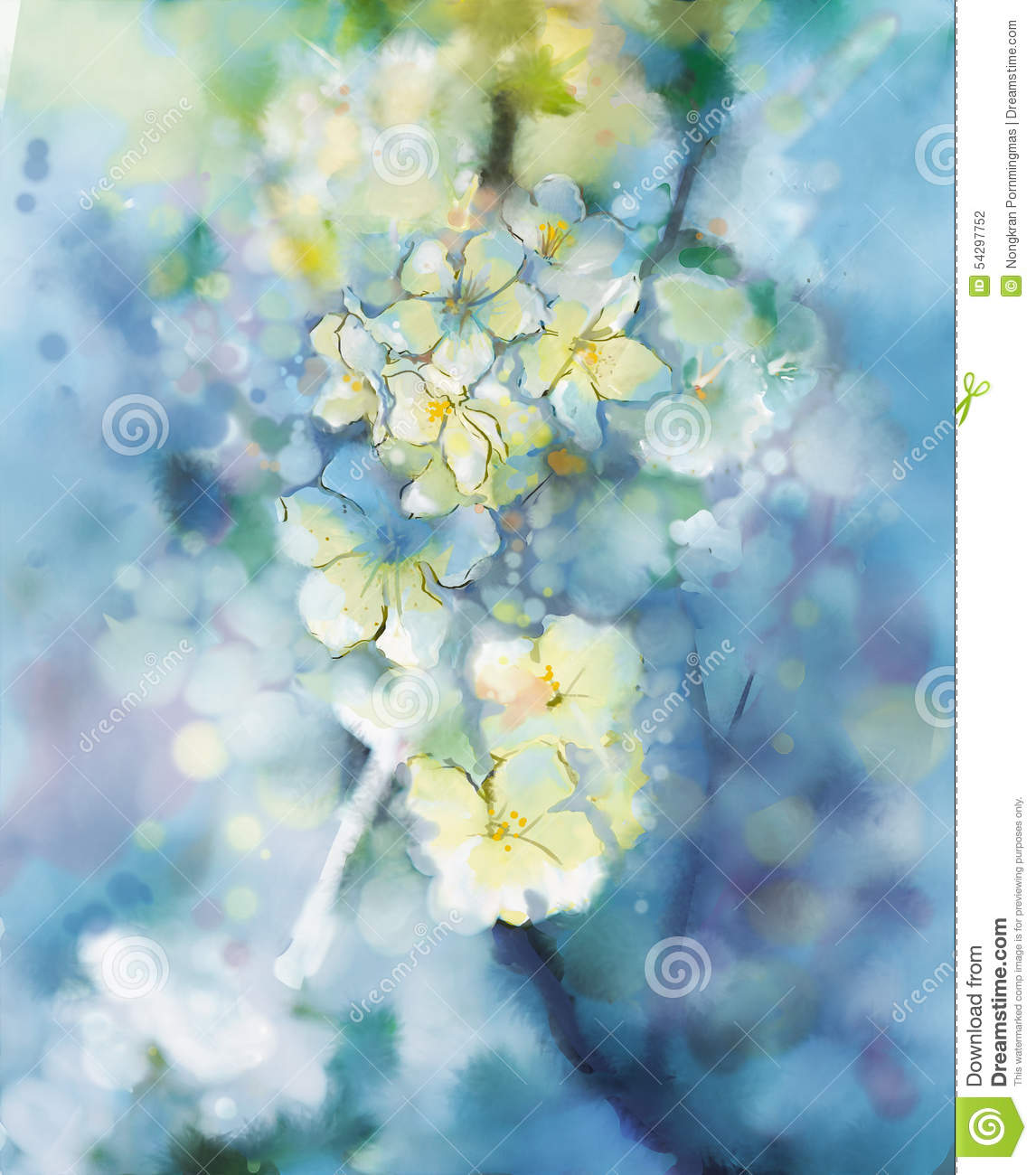 Abstract flower watercolor painting royalty free stock for How to paint abstract with watercolors