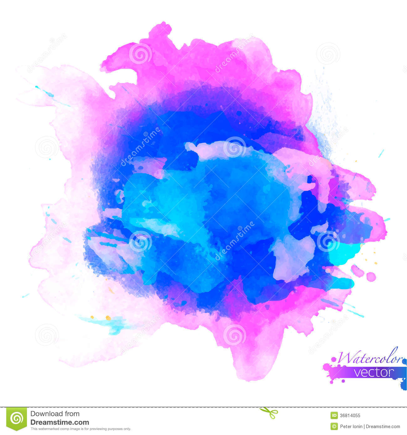 Abstract Watercolor Palette Of Blue Colors Stock Vector