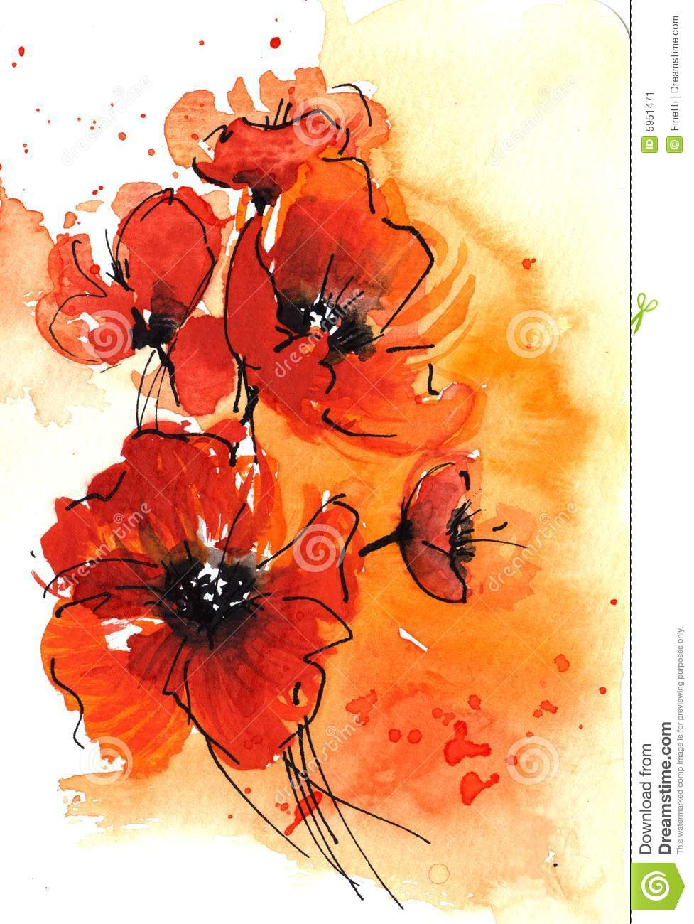 Abstract watercolor poppies stock illustration for Abstract watercolour flowers