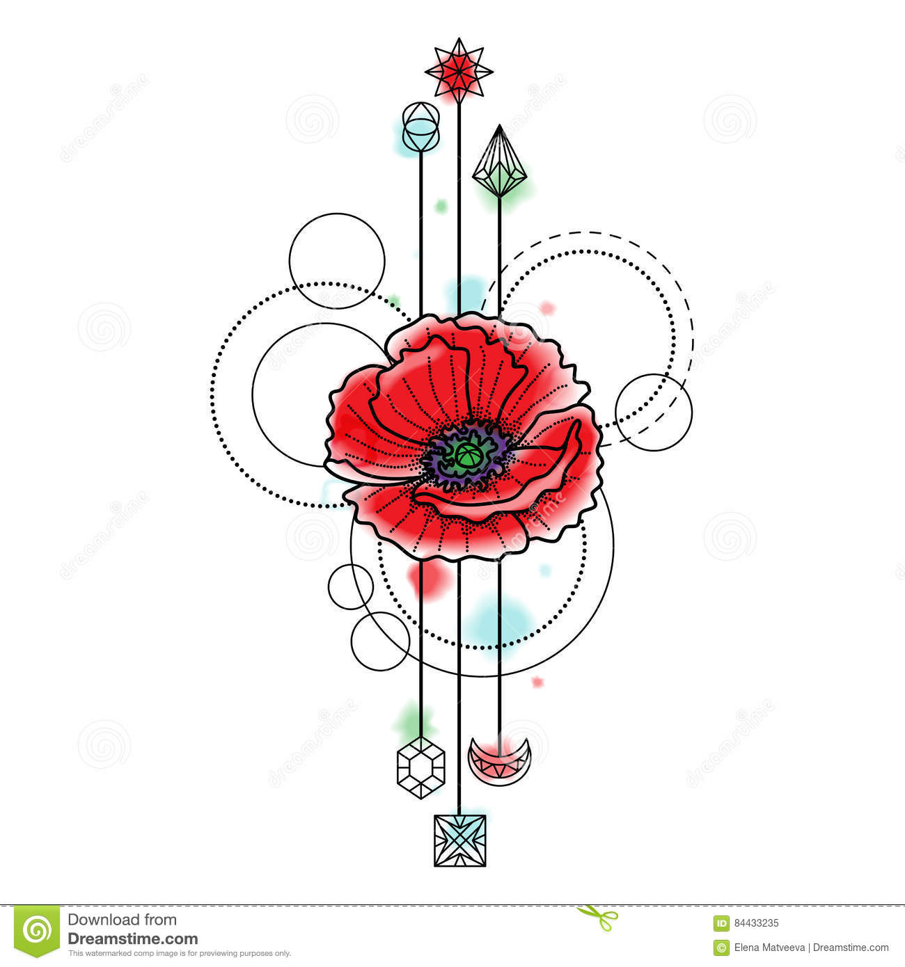 Abstract Watercolor Poppy Tattoo Stock Vector Illustration Of