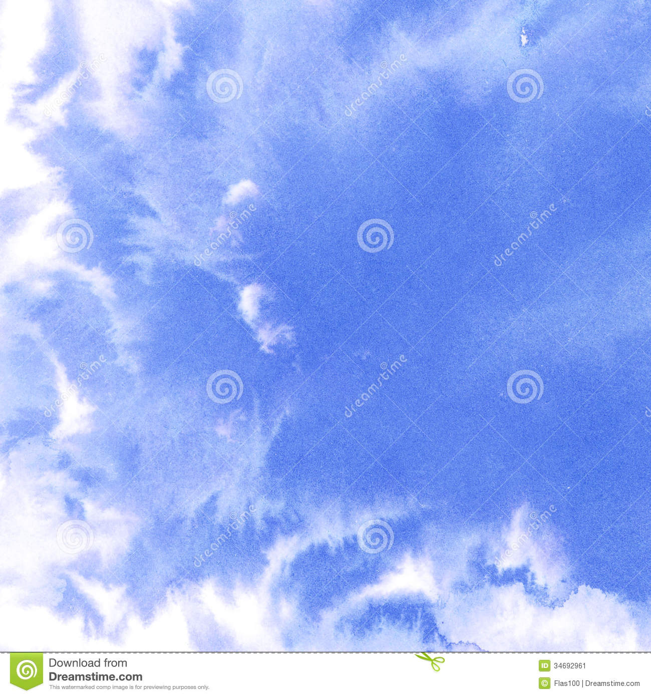 Abstract Watercolor Sky, Clouds Stock Image - Image: 34692961
