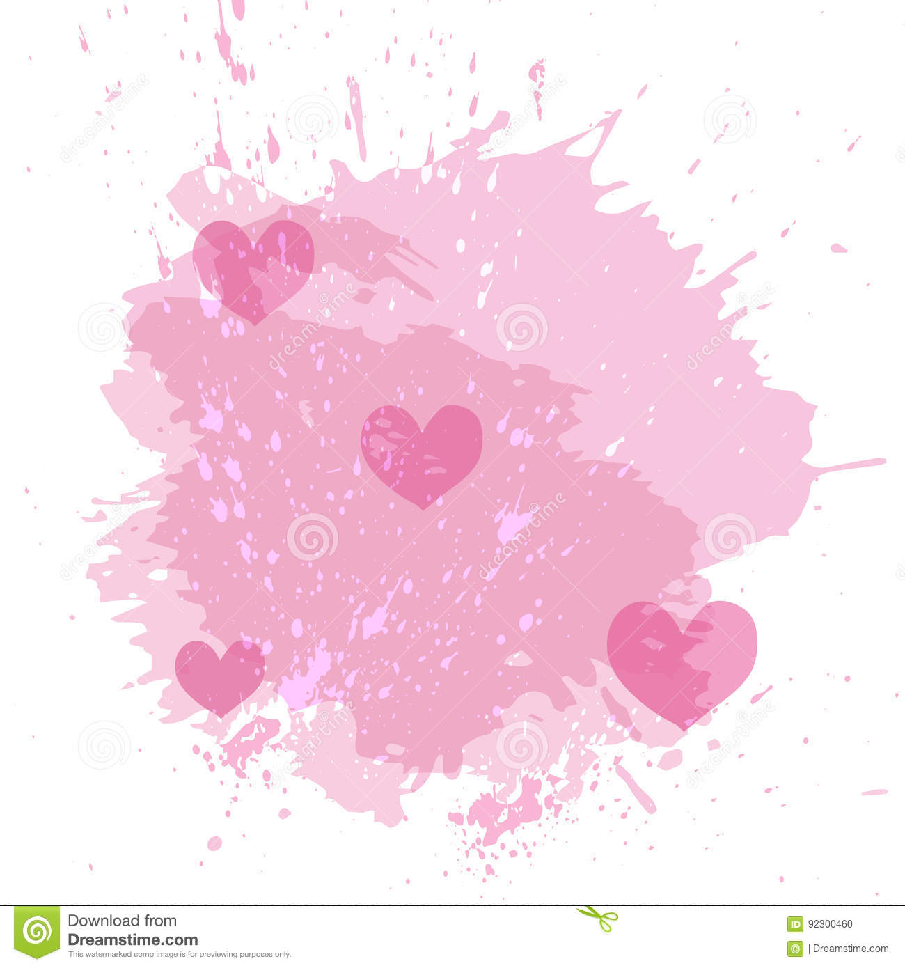 Abstract watercolor spot background with pink hearts splash texture background isolated on white