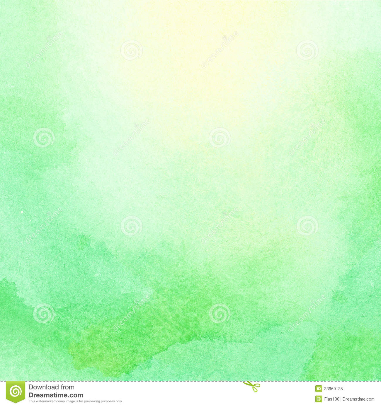 Abstract watercolor sun and sunlight shining on green Light pastel green paint