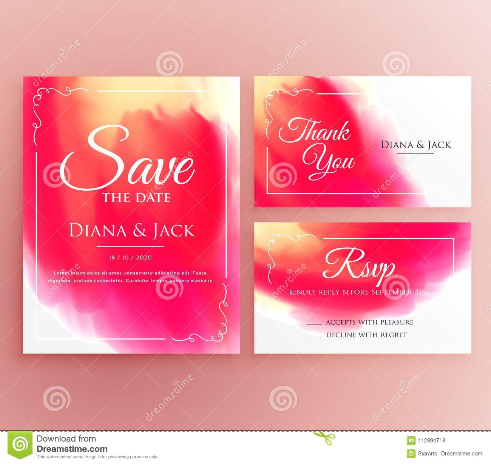 Abstract Watercolor Wedding Invitation Card Set Stock Vector ...