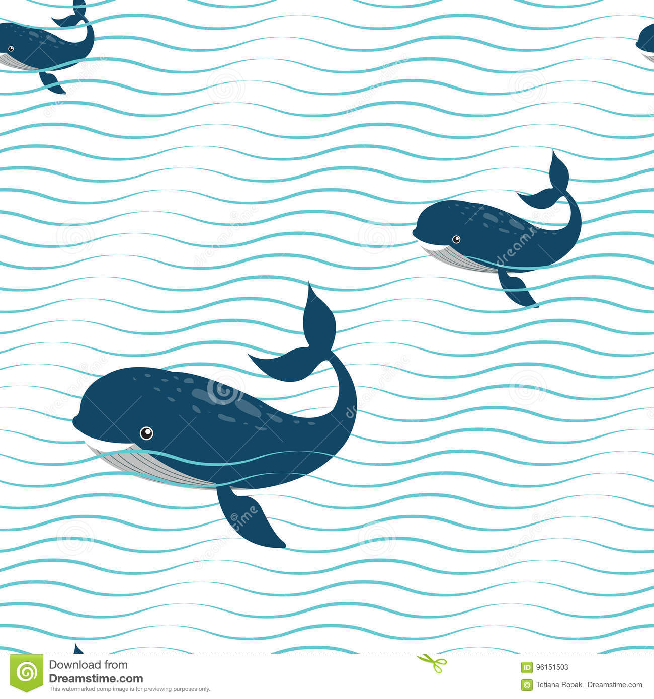 abstract wavy seamless pattern with whales background fashion wave