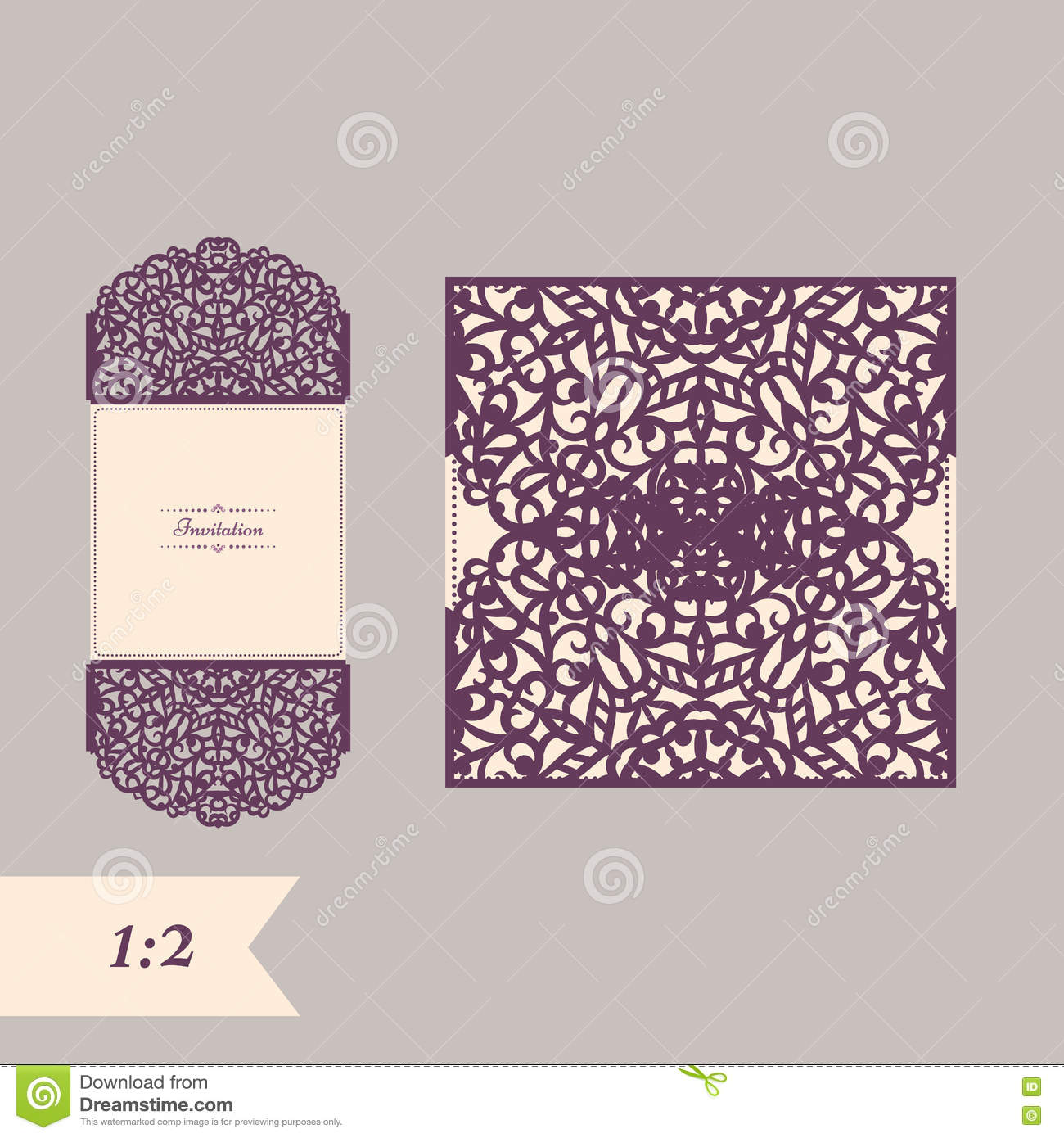 abstract wedding cutout invitation template suitable for