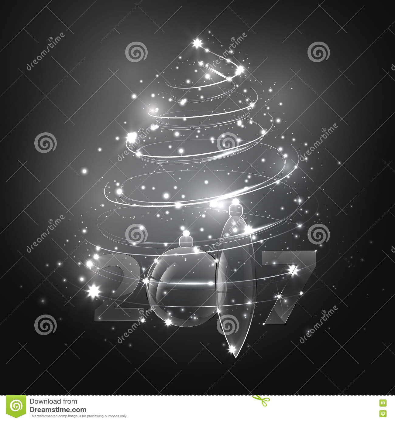 abstract white christmas tree with glass christmas balls - Glass Christmas Balls