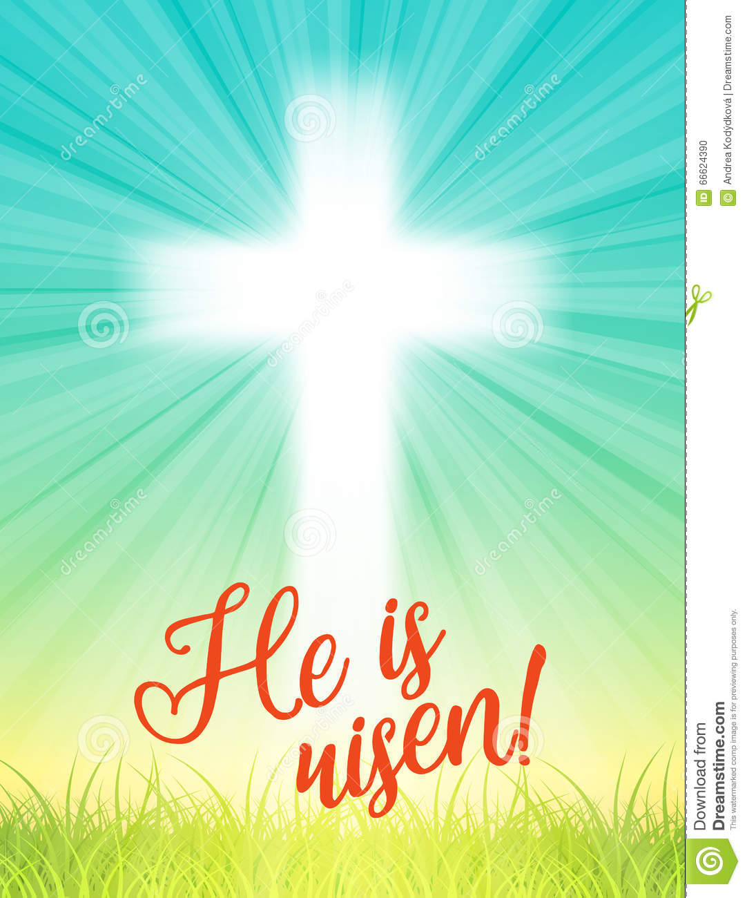 Abstract White Cross With Rays And Text He Is Risen
