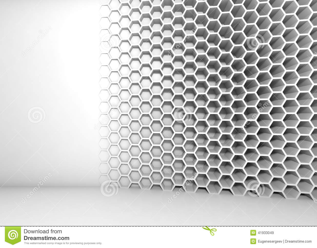 Abstract White 3d Interior With Honeycomb Pattern Stock