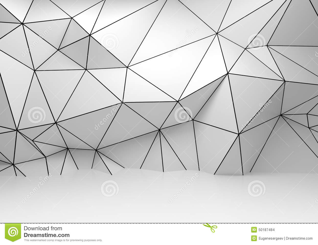 Abstract White 3d Interior Polygonal Wireframe Wall Stock