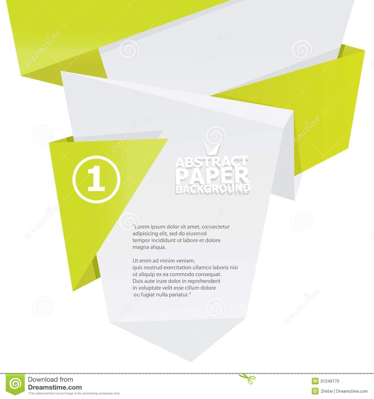 abstract white and green paper origami background  stock