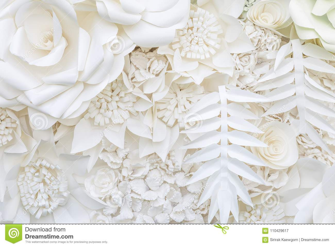Abstract White Paper Flower Design Background Stock Image Image Of