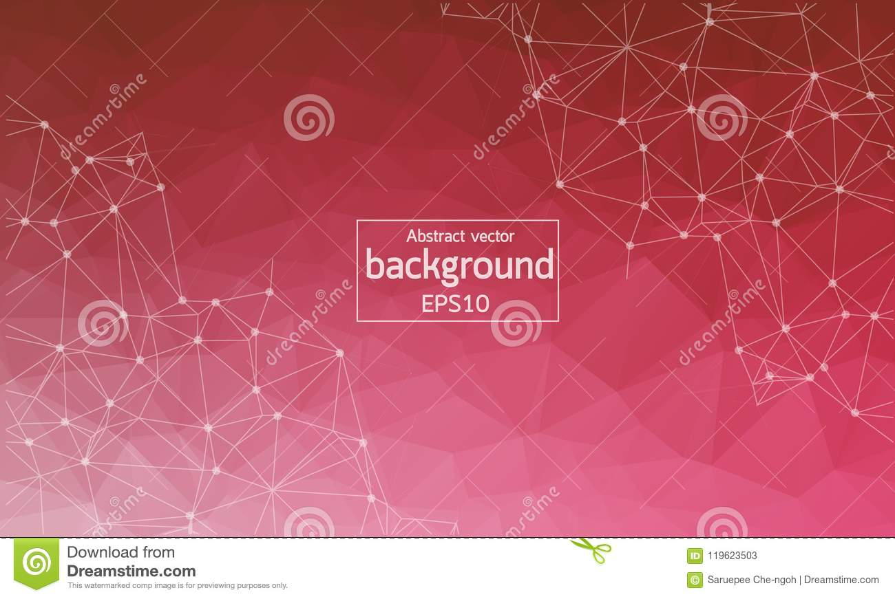 Abstract White Red Polygonal Space Background with Connecting Dots and Lines. Connection structure. Vector science background. Po