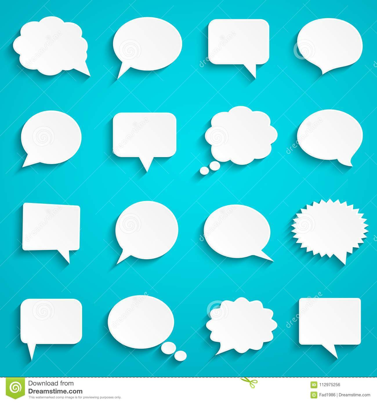 Blank empty paper white speech bubbles