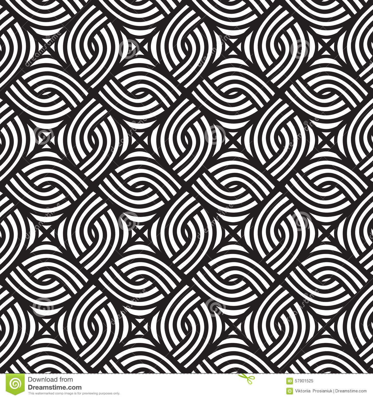 Abstract Wicker Black And White Pattern Seamless Vector Pattern