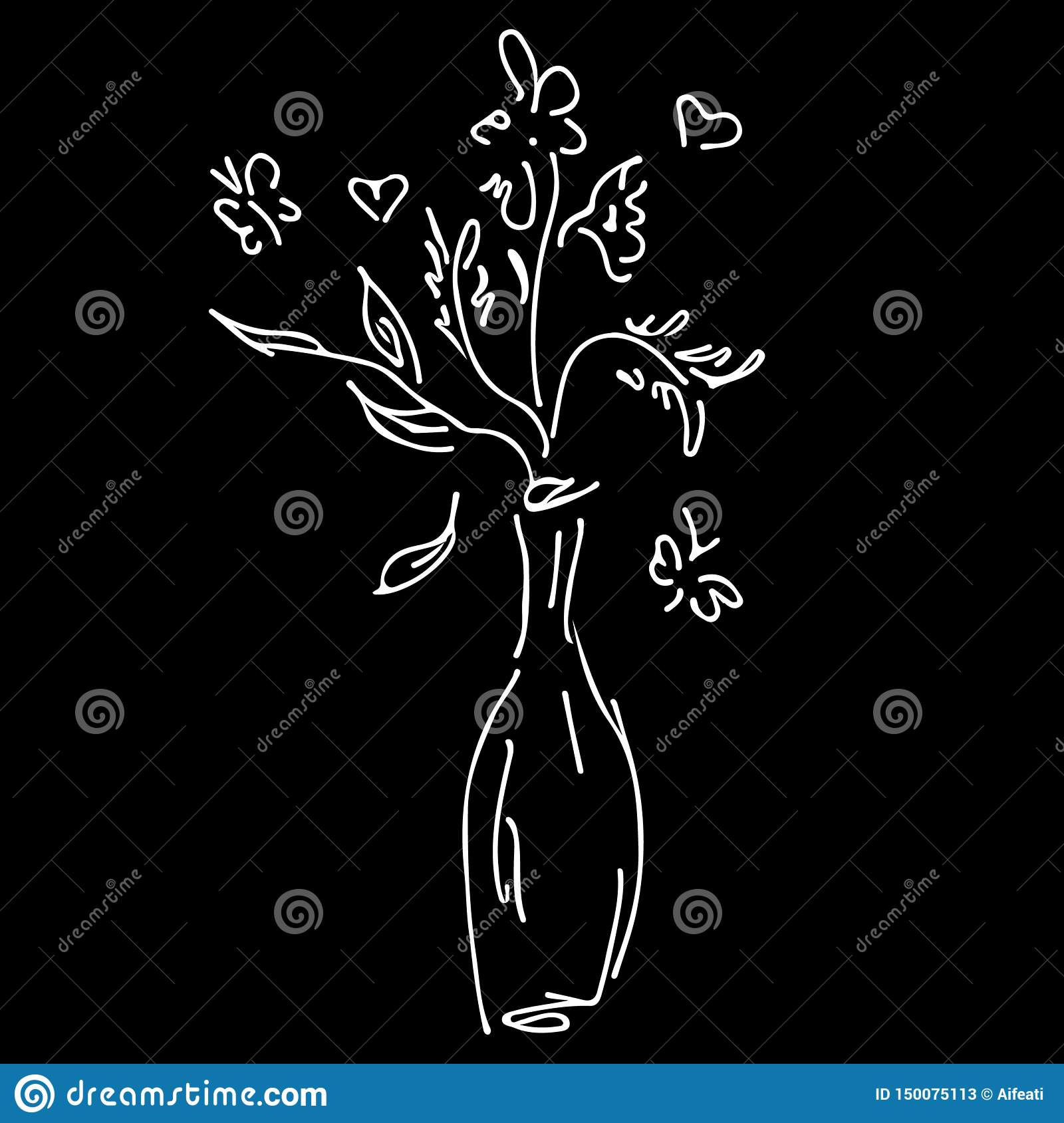 Abstract wild flowers bouquet isolated on black background. Hand drawn vector illustration. Outline icon