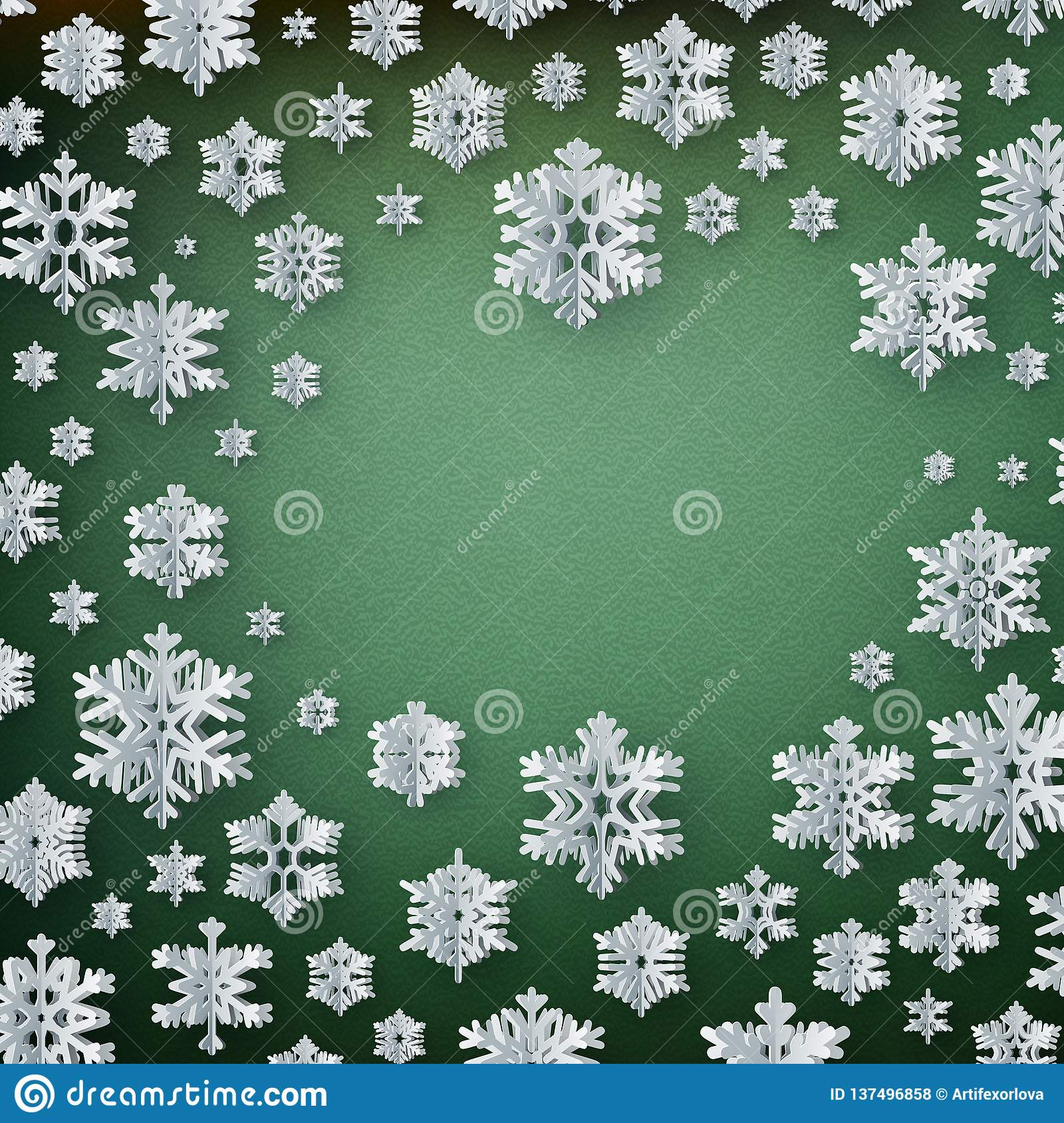 Abstract winter background with paper snowflakes on green background. EPS 10