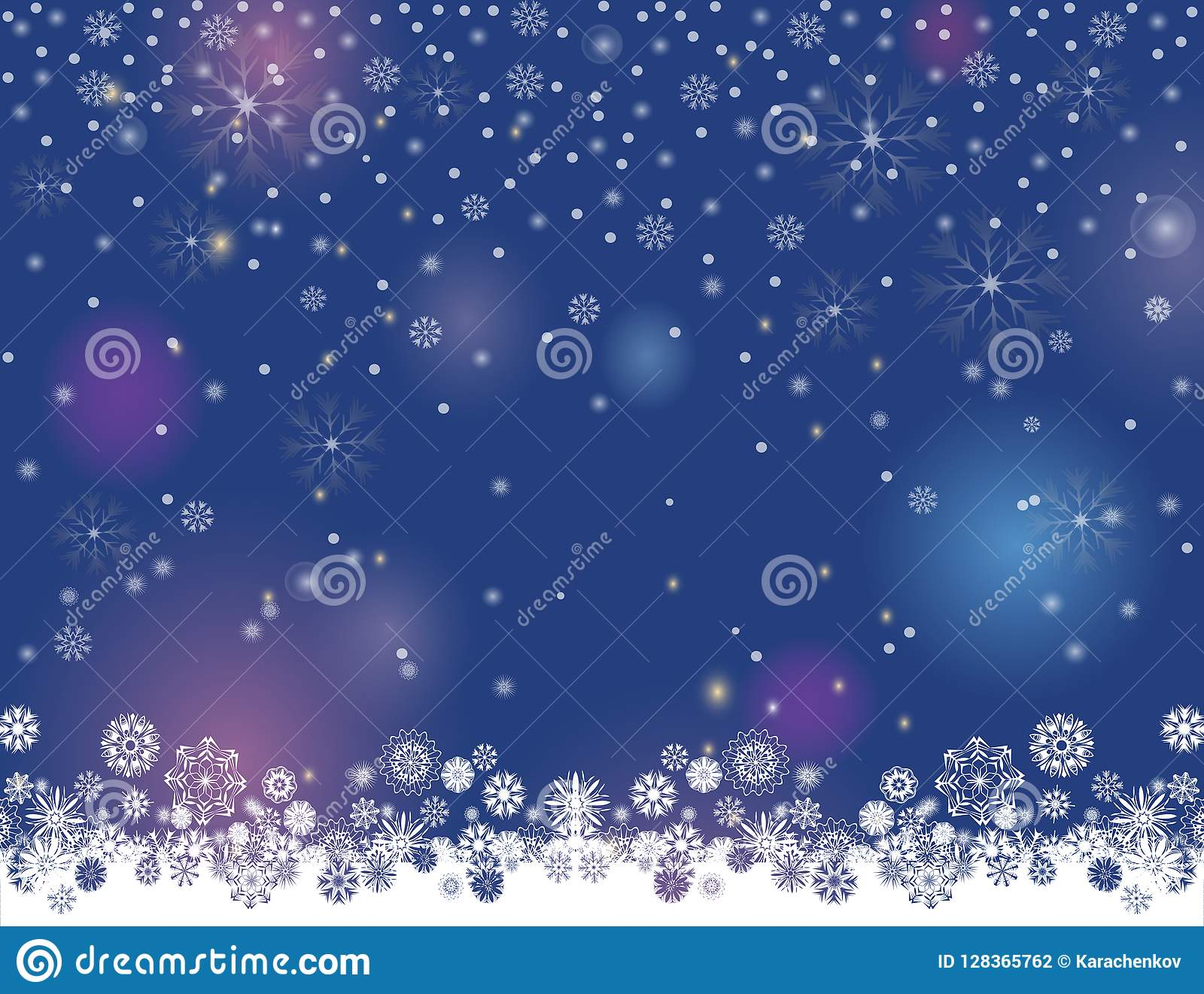abstract winter night lights blurry background for your merry christmas and happy new year design