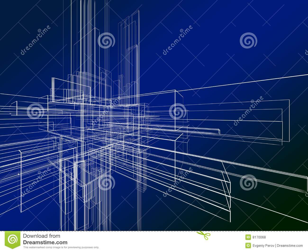Abstract Wireframe On Blue Background Royalty Free Stock Photos