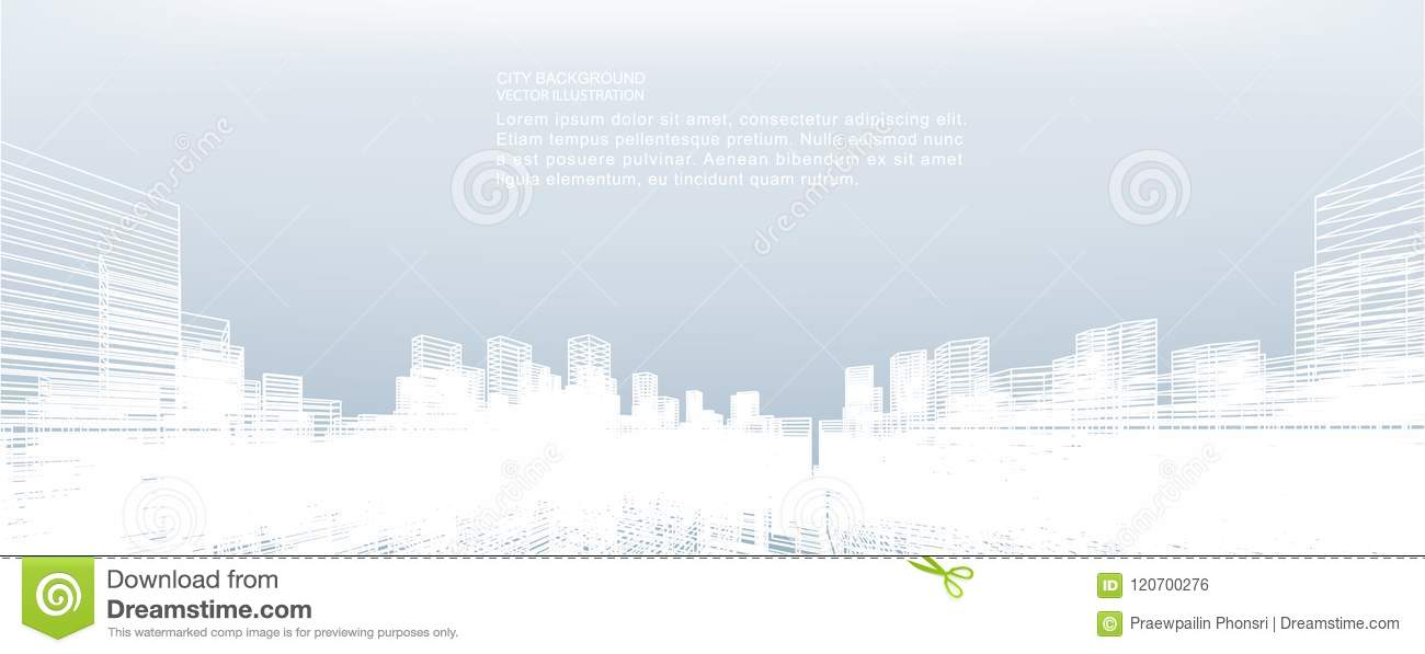 Abstract wireframe city background. Perspective 3D render.