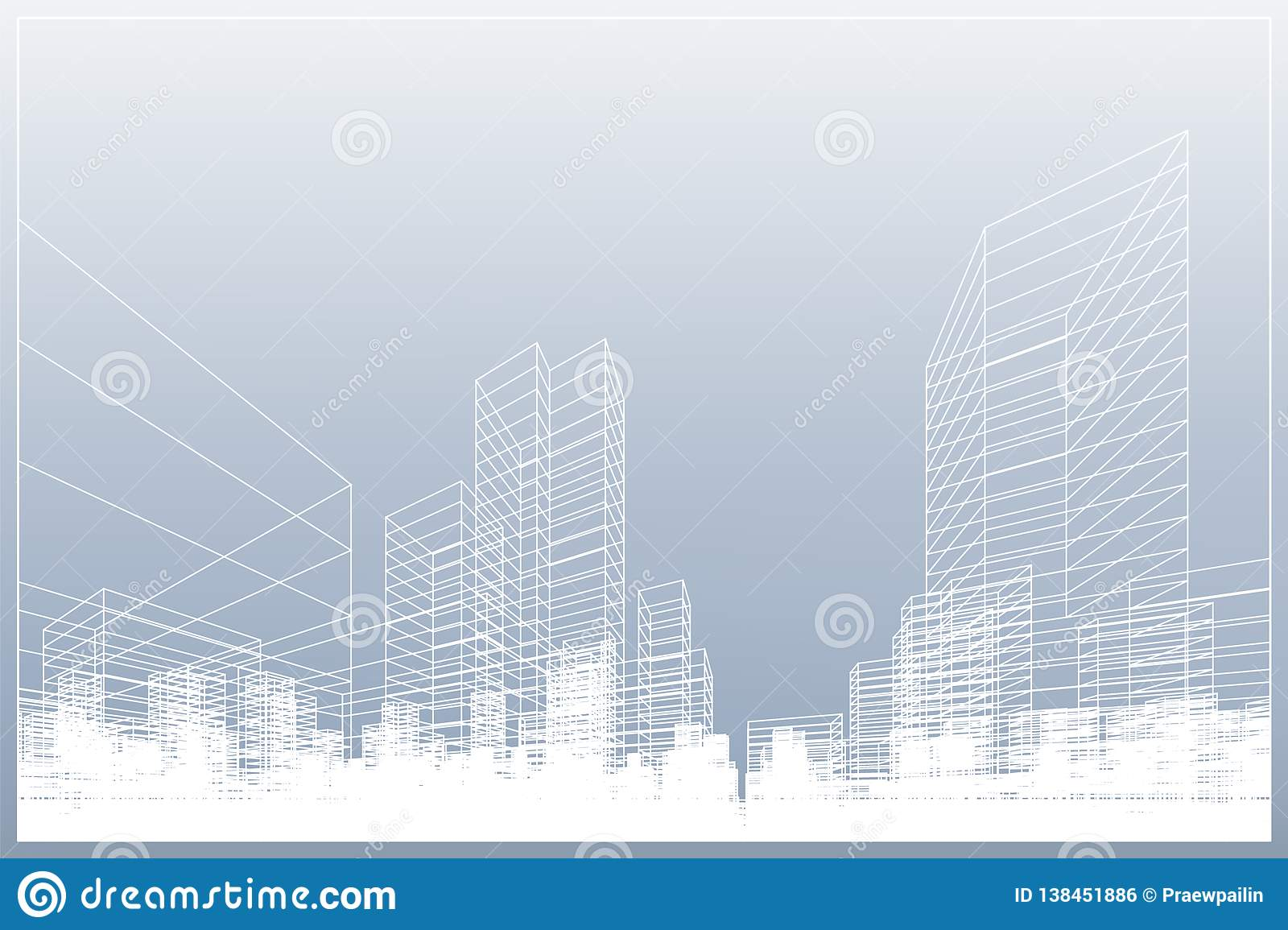 Abstract wireframe city background. Perspective 3D render of building wireframe. Vector