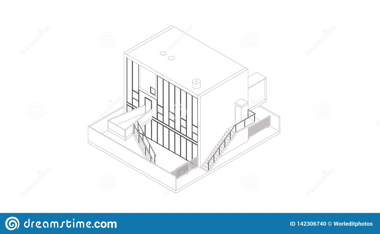 Abstract wireframe perspective of 3D building