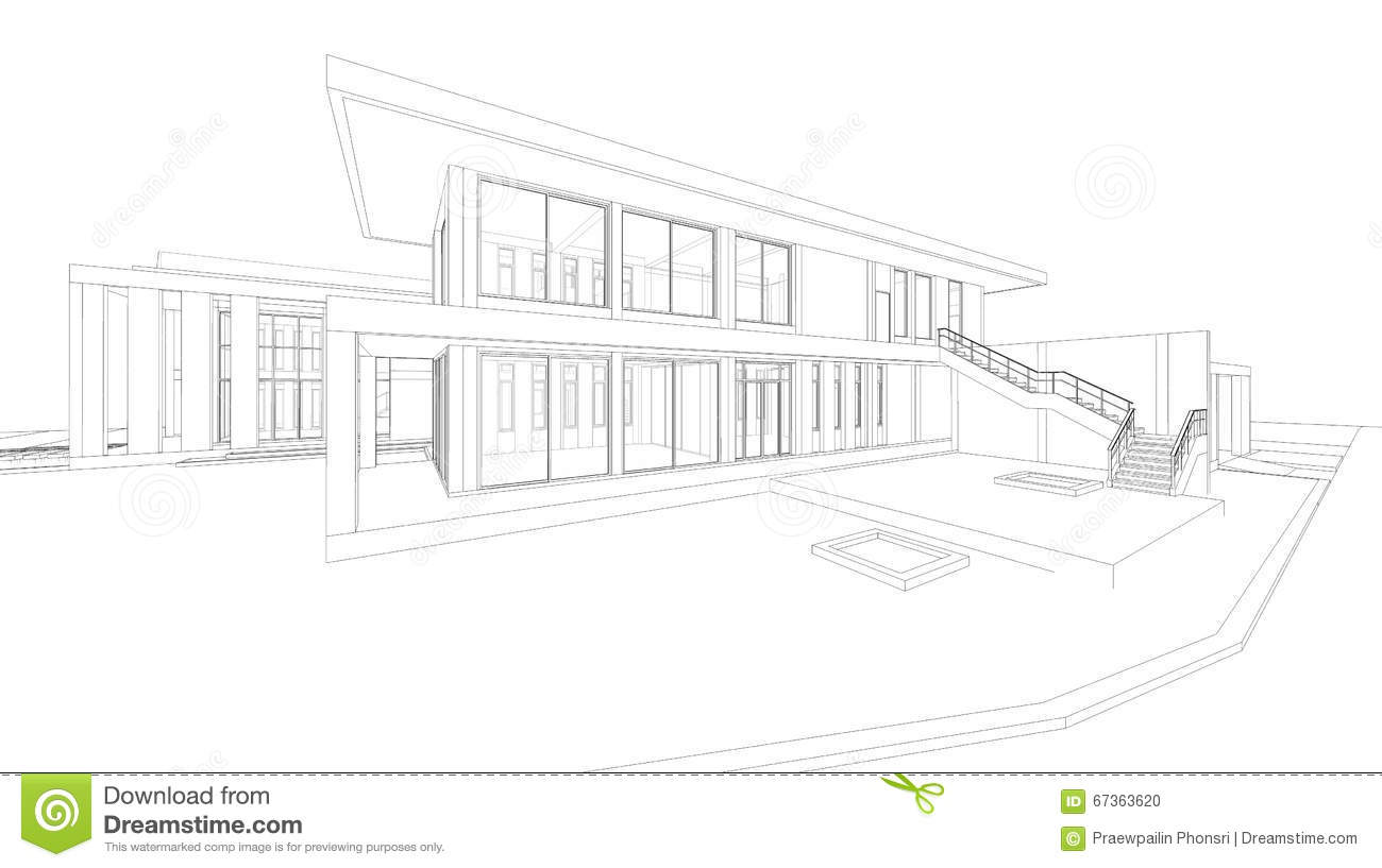 Abstract wireframe perspective of 3D house rendering.