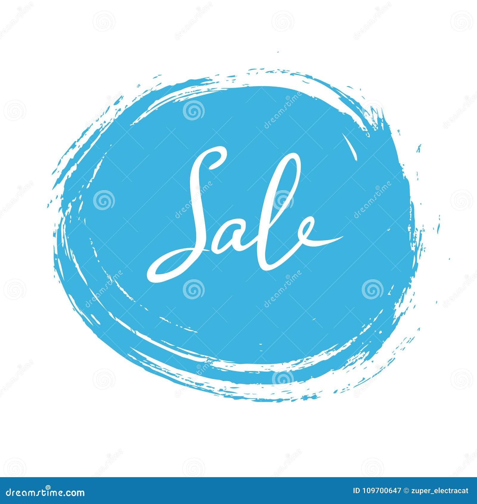 Abstract wit verkoopteken over blauwe inktvlek op witte achtergrond Vector illustratie