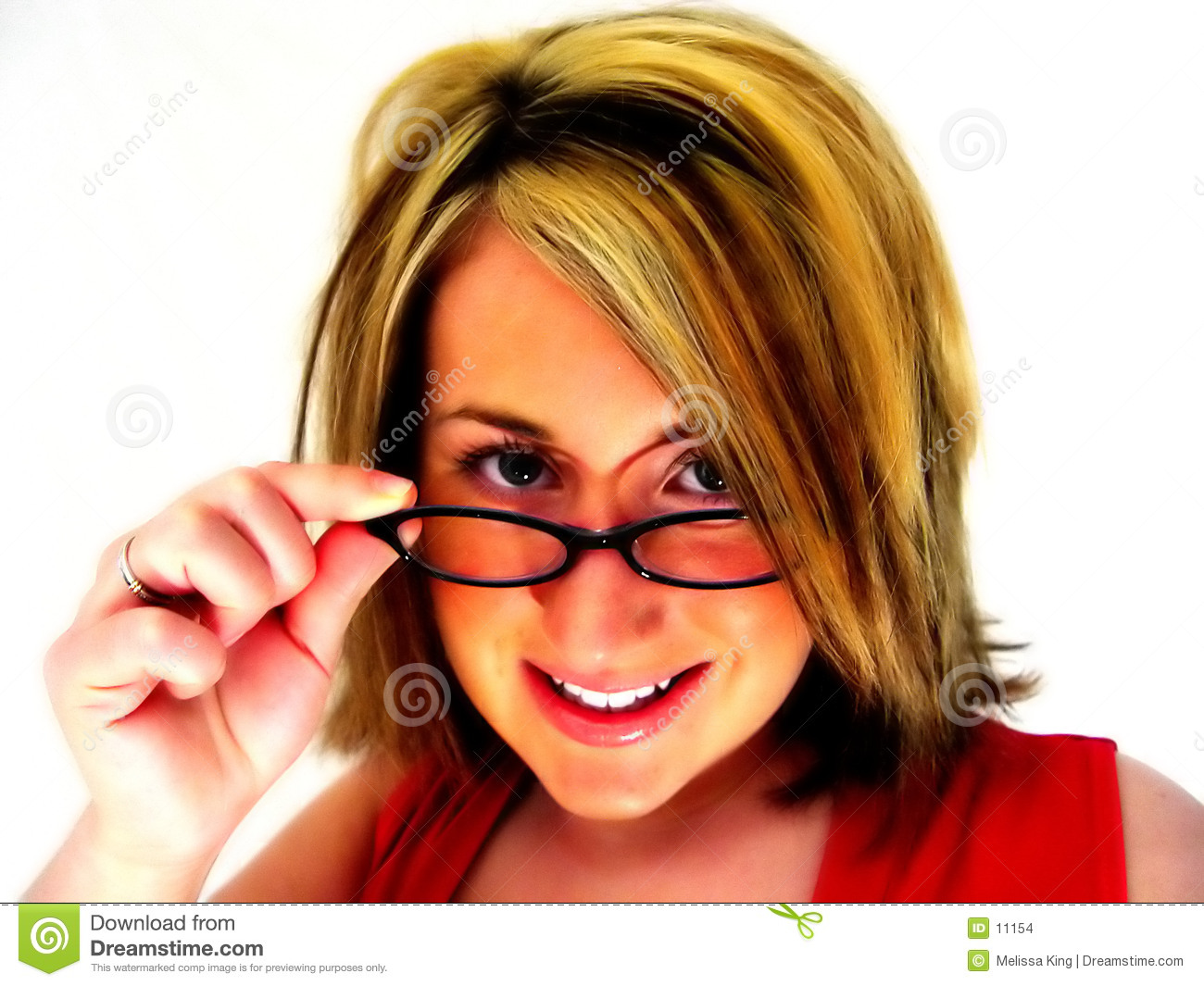 Abstract - Woman looking over glasses