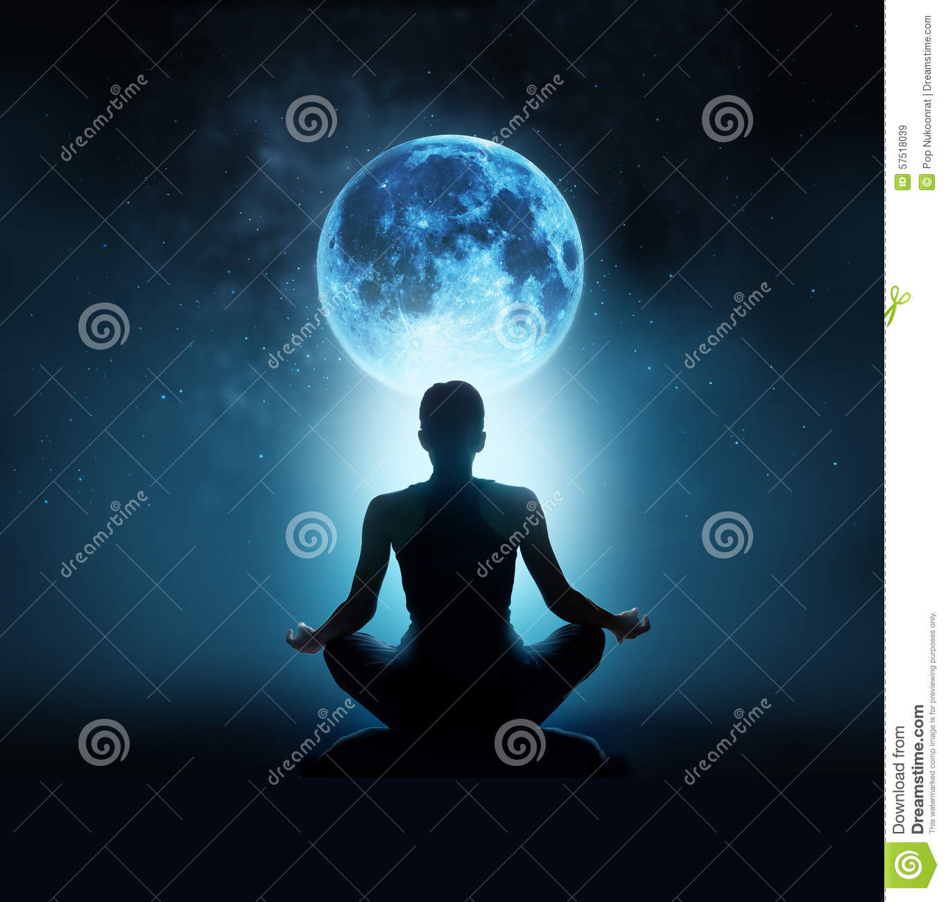 Abstract woman are meditating at blue full moon with star in dark night sky