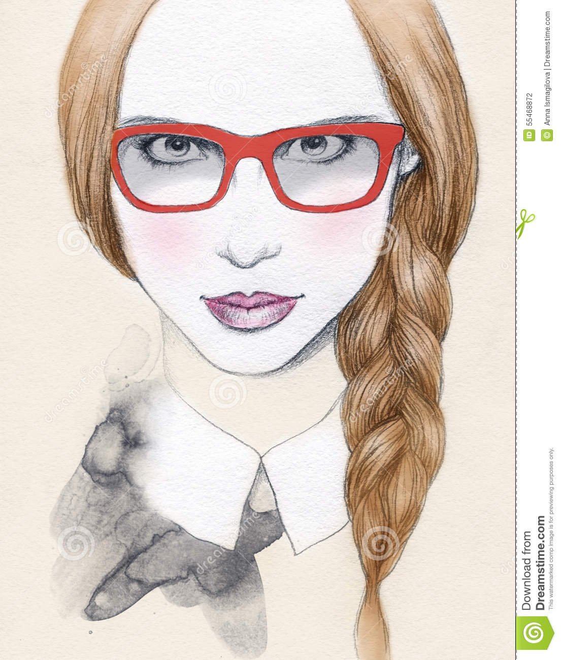 Abstract woman portrait with glasses fashion background for Hand painted portraits from photos