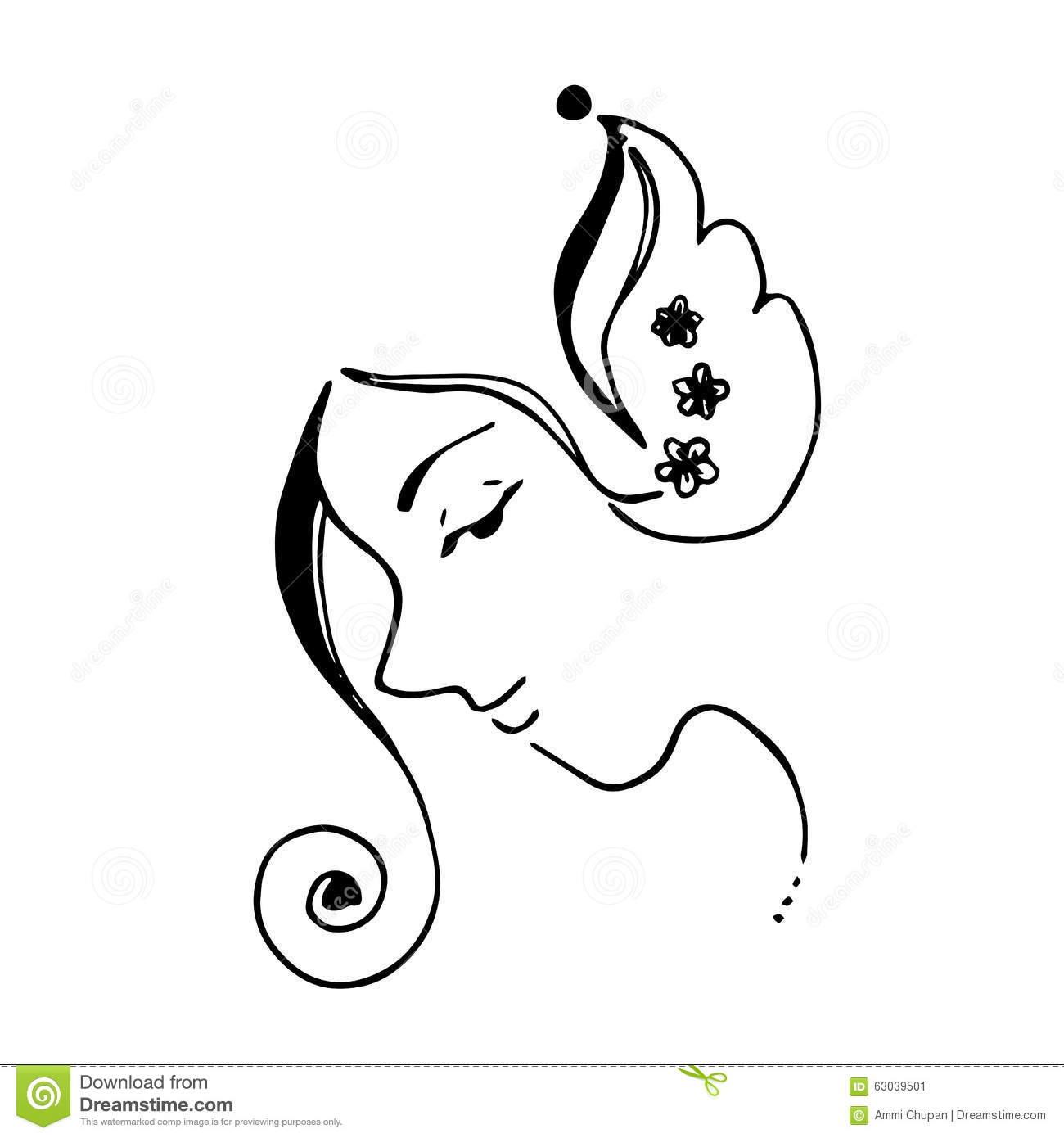 Abstract Face Line Drawing : Abstract women face and flowers illustration curve line
