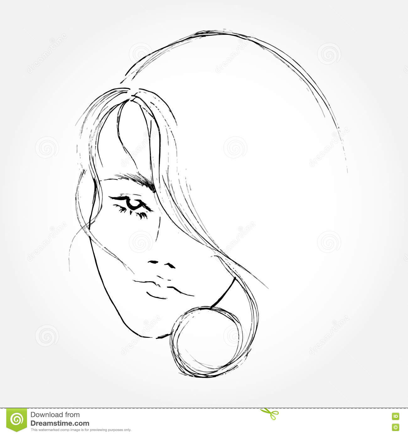 Abstract Face Line Drawing : Abstract women face line art drawing stock vector image