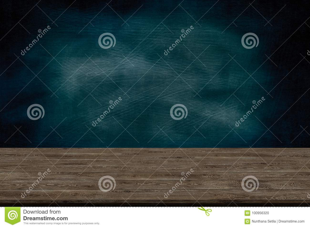 Abstract wooden table texture and chalk rubbed out on blackboard, for graphic add product, Education concept,