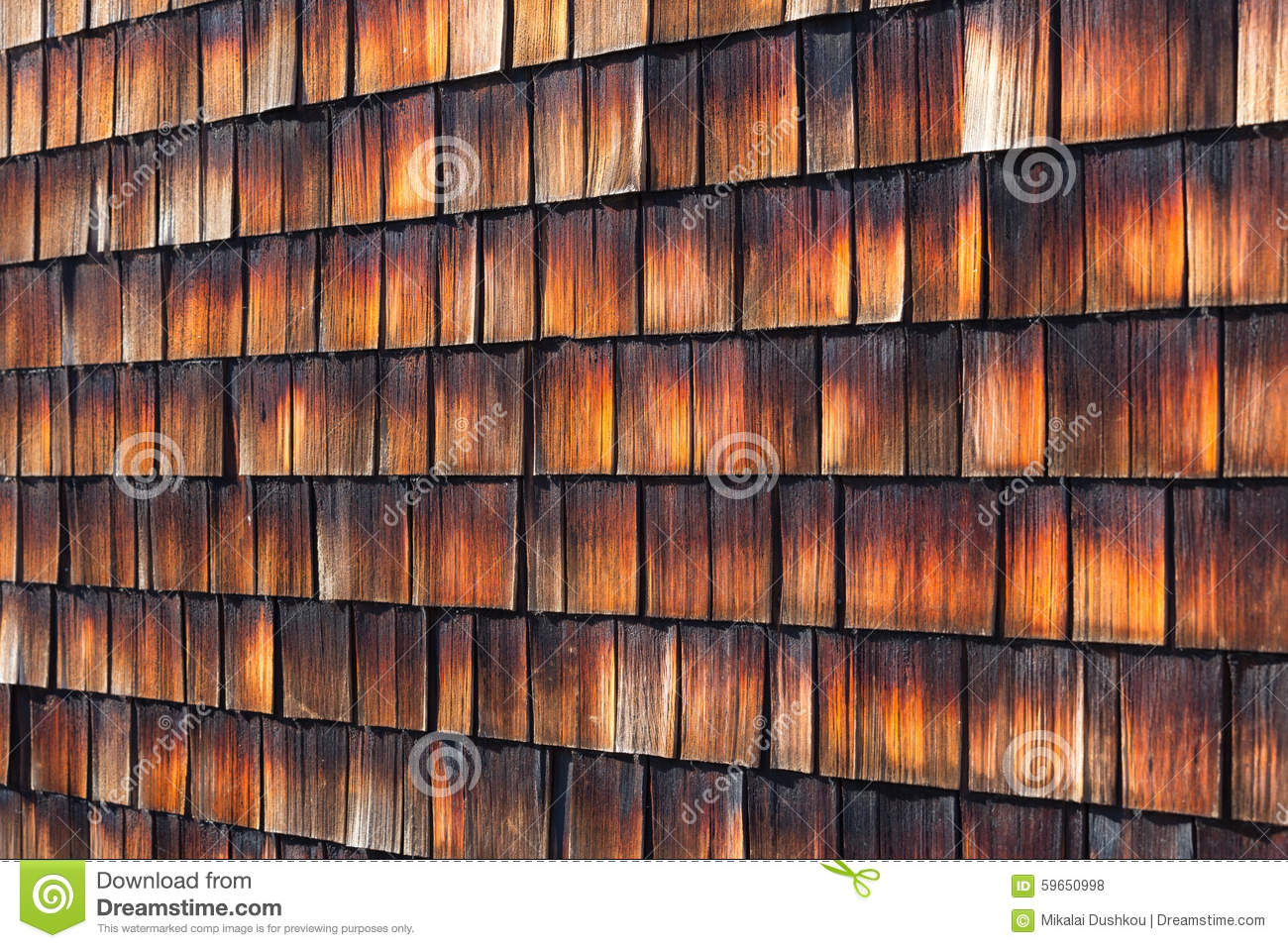 Abstract Wooden Texture Of Cedar Shingles Stock Photo